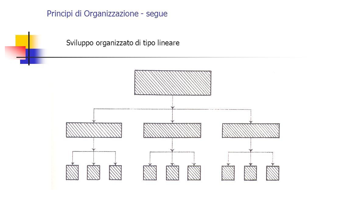 Principi di Organizzazione - segue Sviluppo organizzato di tipo lineare