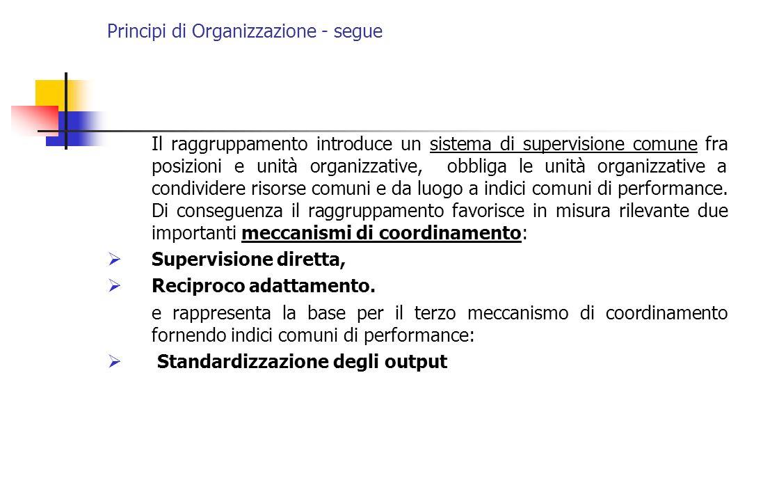 Principi di Organizzazione - segue Il raggruppamento introduce un sistema di supervisione comune fra posizioni e unità organizzative, obbliga le unità
