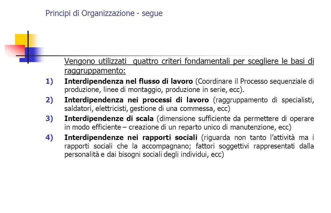 Principi di Organizzazione - segue Vengono utilizzati quattro criteri fondamentali per scegliere le basi di raggruppamento: 1)Interdipendenza nel flus