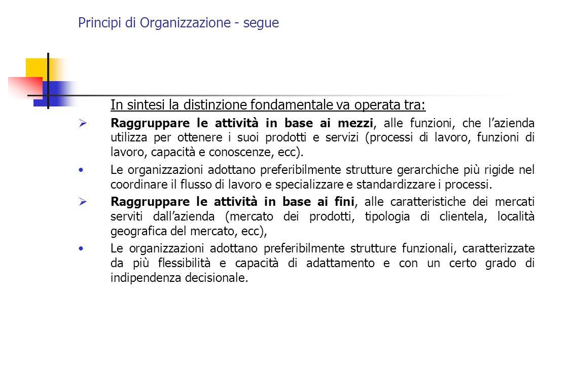 Principi di Organizzazione - segue In sintesi la distinzione fondamentale va operata tra: Raggruppare le attività in base ai mezzi, alle funzioni, che