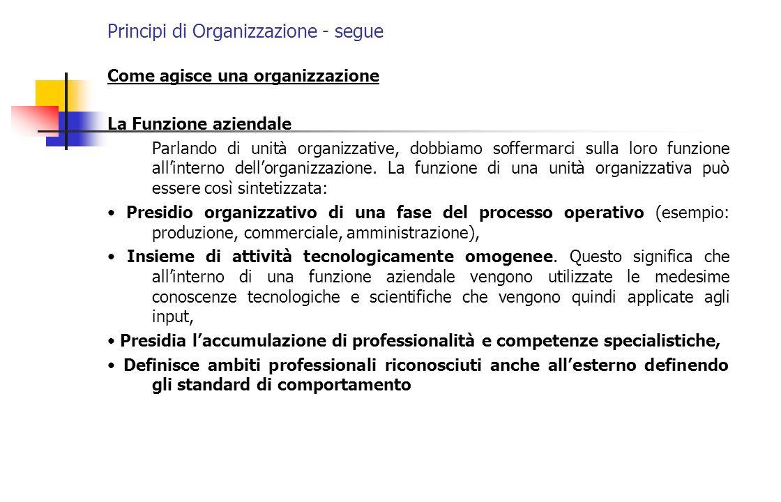 Come agisce una organizzazione La Funzione aziendale Parlando di unità organizzative, dobbiamo soffermarci sulla loro funzione allinterno dellorganizz