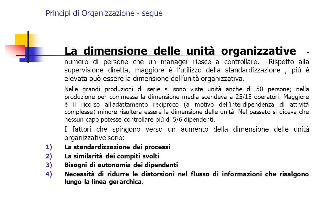 Principi di Organizzazione - segue La dimensione delle unità organizzative - numero di persone che un manager riesce a controllare. Rispetto alla supe