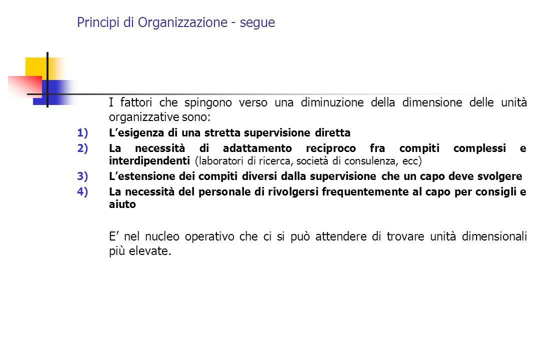 Principi di Organizzazione - segue I fattori che spingono verso una diminuzione della dimensione delle unità organizzative sono: 1)Lesigenza di una st