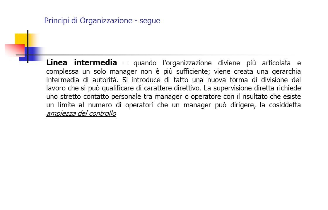 Principi di Organizzazione - segue Linea intermedia – quando lorganizzazione diviene più articolata e complessa un solo manager non è più sufficiente;
