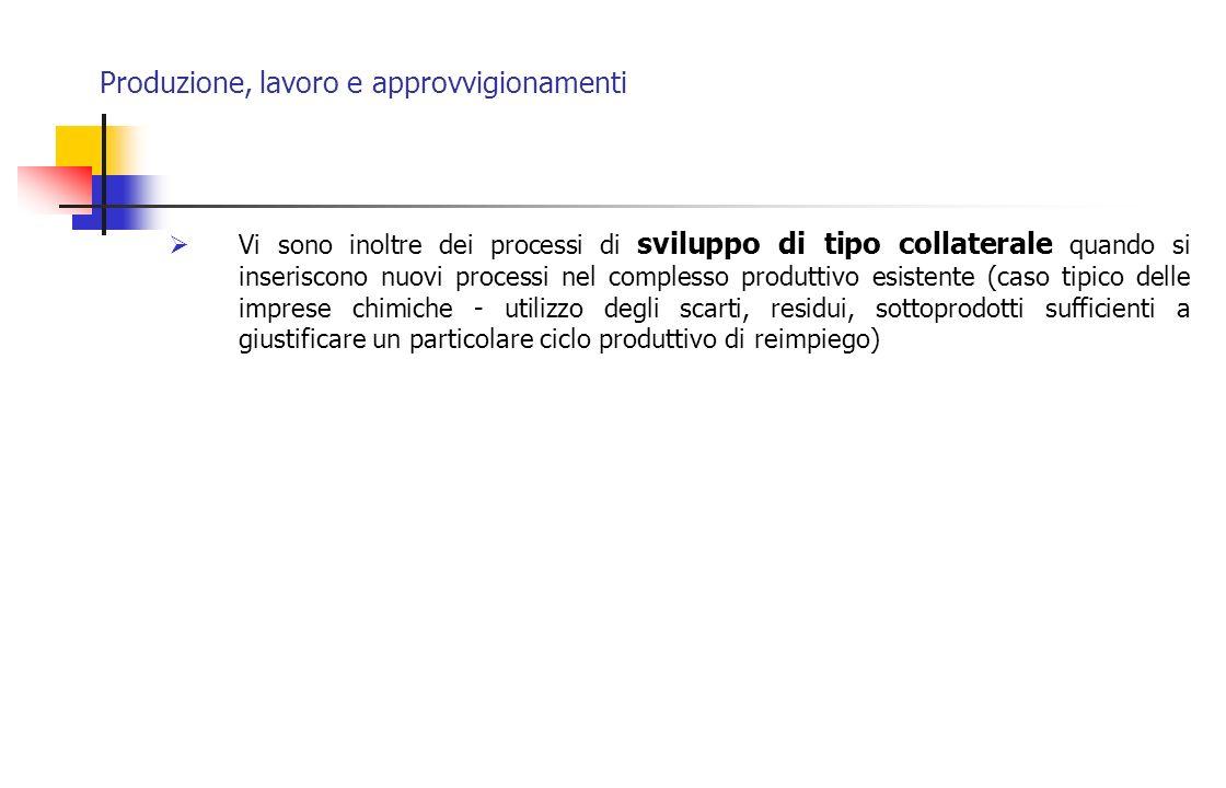 Produzione, lavoro e approvvigionamenti Vi sono inoltre dei processi di sviluppo di tipo collaterale quando si inseriscono nuovi processi nel compless