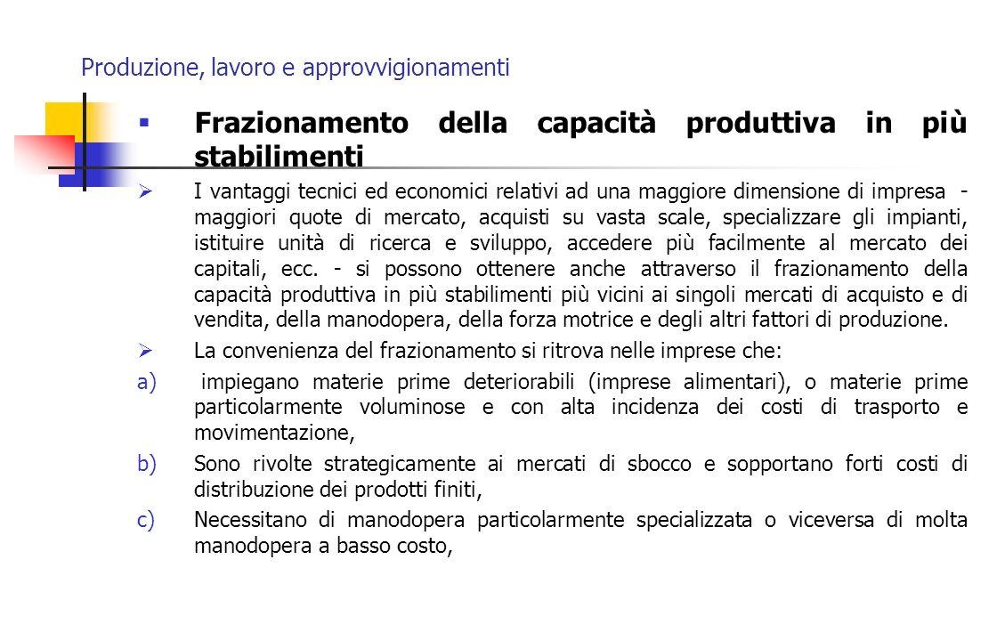 Produzione, lavoro e approvvigionamenti Frazionamento della capacità produttiva in più stabilimenti I vantaggi tecnici ed economici relativi ad una ma