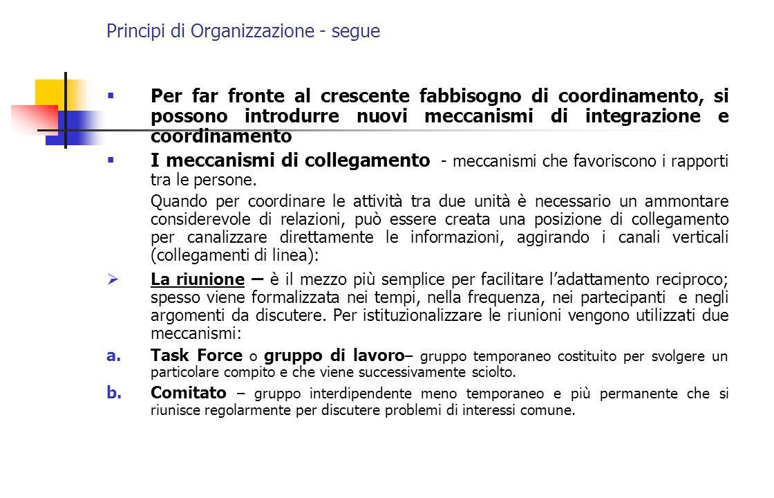 Principi di Organizzazione - segue Per far fronte al crescente fabbisogno di coordinamento, si possono introdurre nuovi meccanismi di integrazione e c