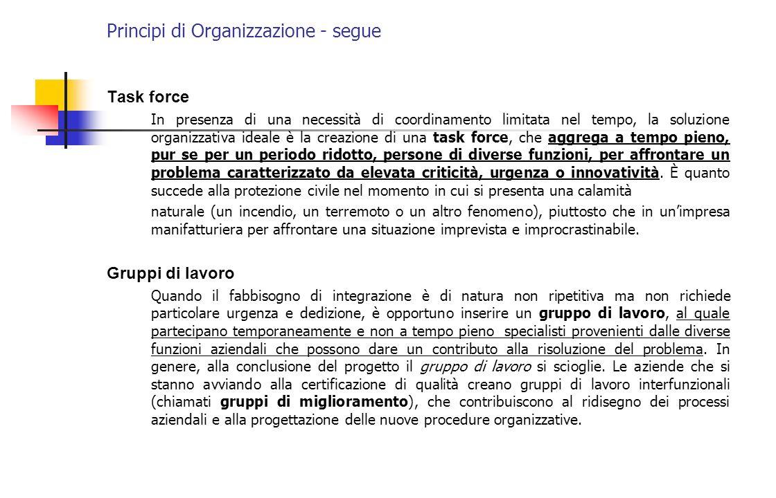 Principi di Organizzazione - segue Task force In presenza di una necessità di coordinamento limitata nel tempo, la soluzione organizzativa ideale è la