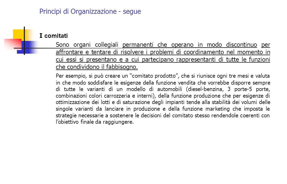 Principi di Organizzazione - segue I comitati Sono organi collegiali permanenti che operano in modo discontinuo per affrontare e tentare di risolvere