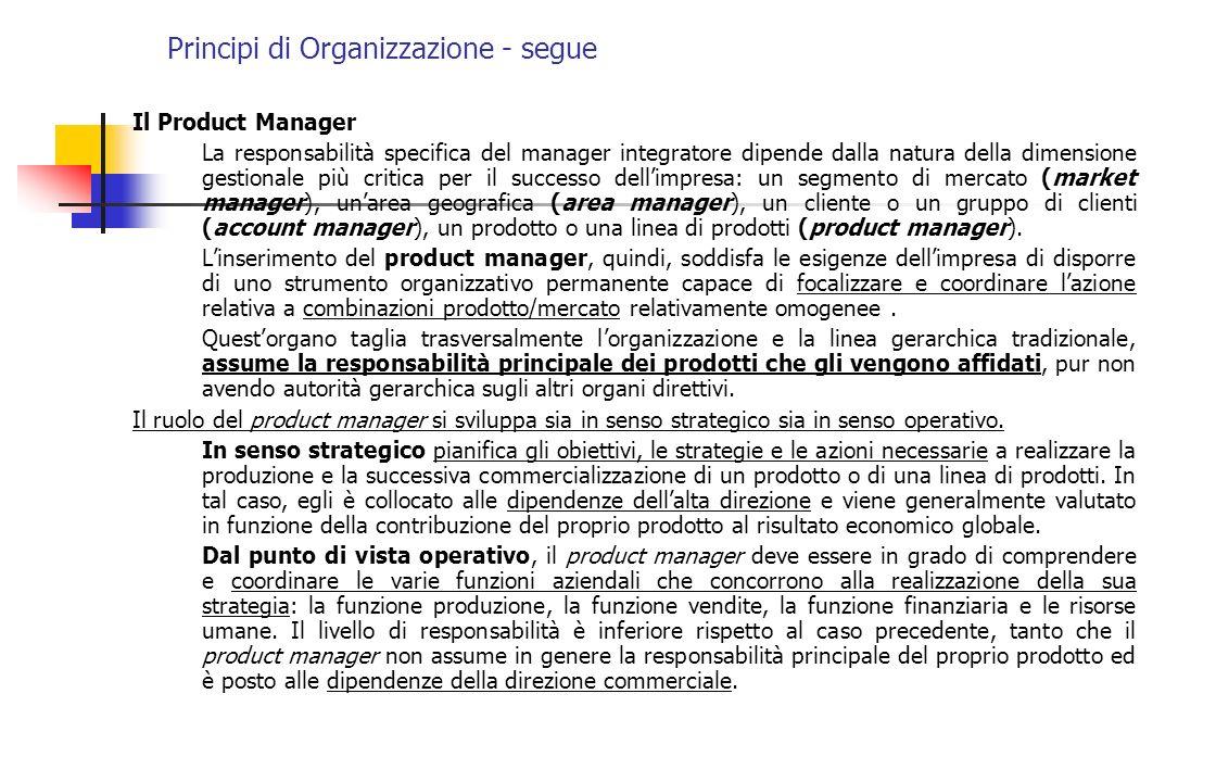 Principi di Organizzazione - segue Il Product Manager La responsabilità specifica del manager integratore dipende dalla natura della dimensione gestio