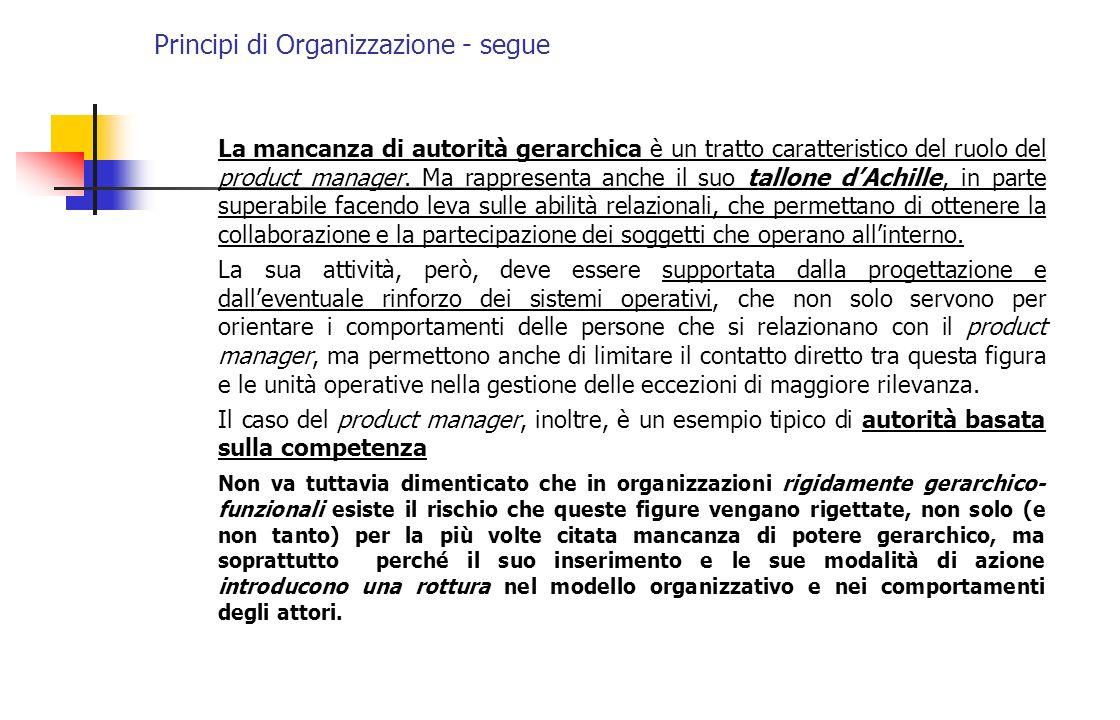 Principi di Organizzazione - segue La mancanza di autorità gerarchica è un tratto caratteristico del ruolo del product manager. Ma rappresenta anche i
