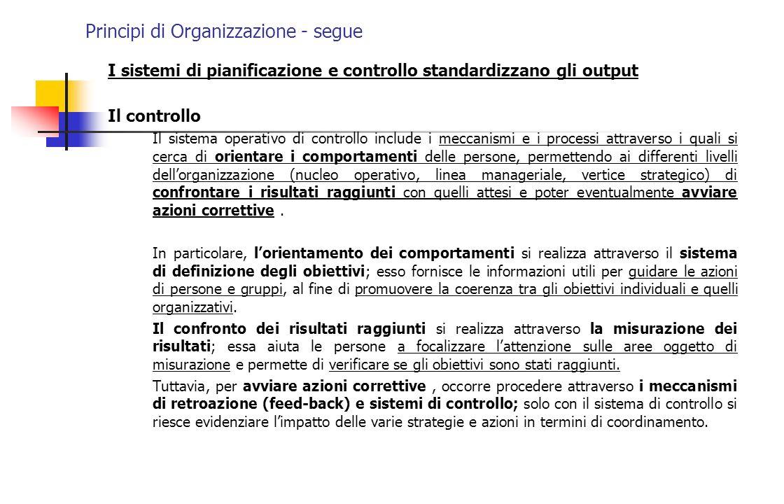 Principi di Organizzazione - segue I sistemi di pianificazione e controllo standardizzano gli output Il controllo Il sistema operativo di controllo in