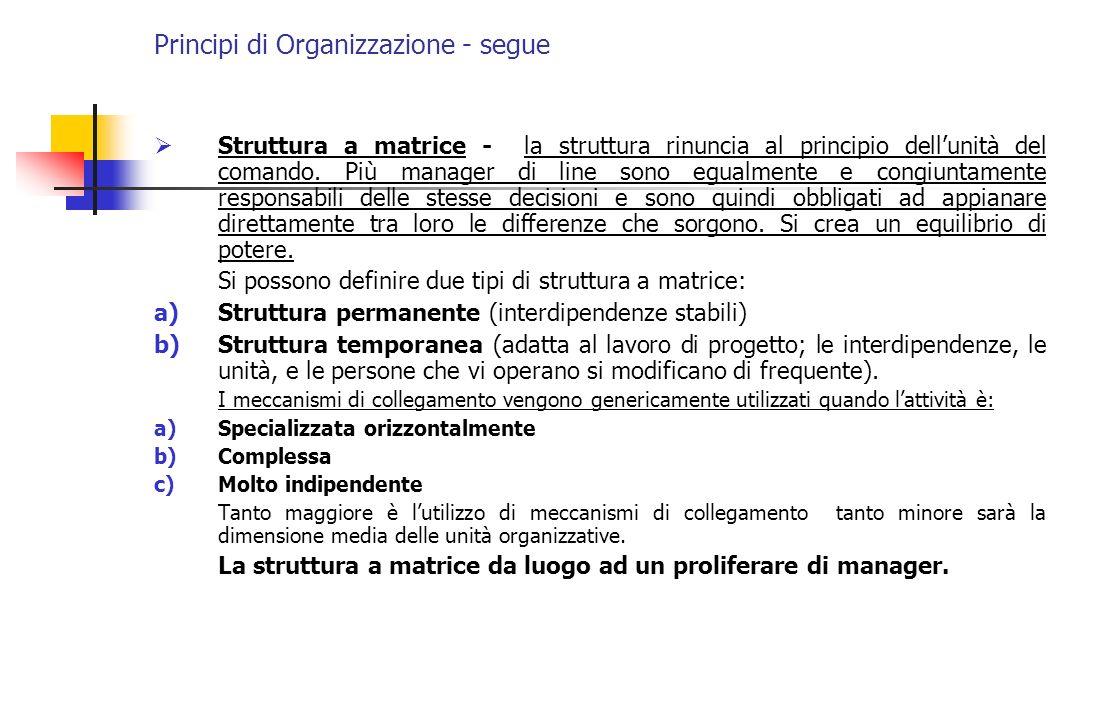 Principi di Organizzazione - segue Struttura a matrice - la struttura rinuncia al principio dellunità del comando. Più manager di line sono egualmente