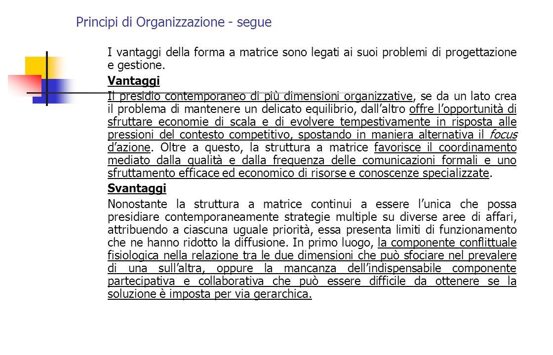 Principi di Organizzazione - segue I vantaggi della forma a matrice sono legati ai suoi problemi di progettazione e gestione. Vantaggi Il presidio con