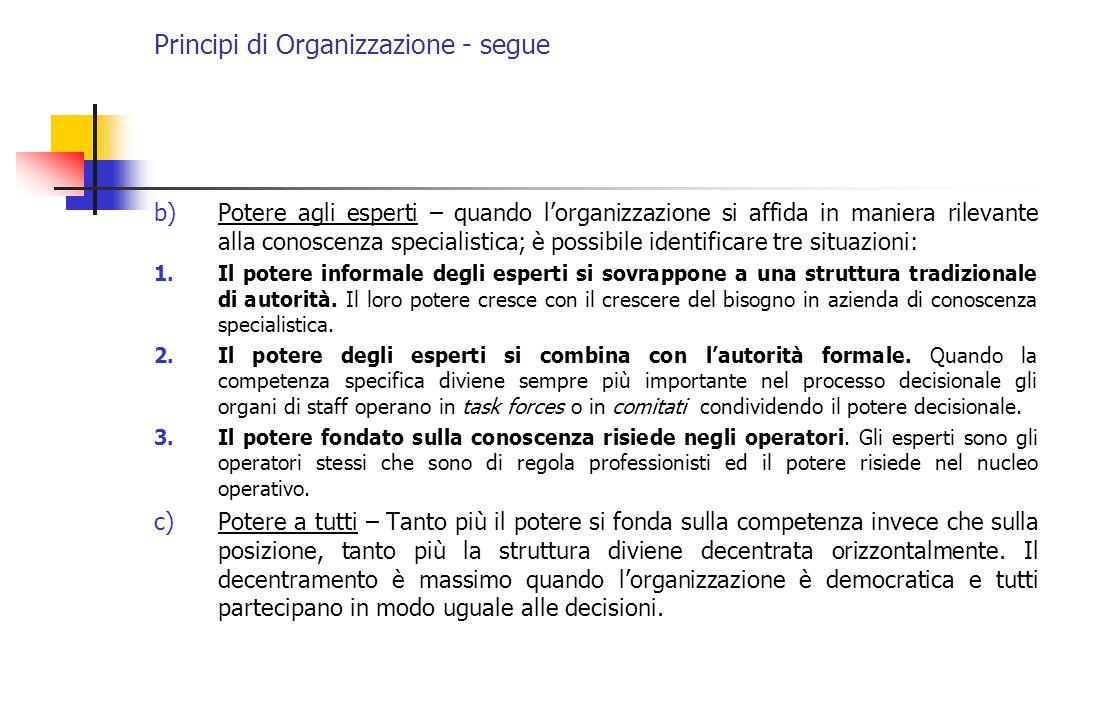 Principi di Organizzazione - segue b)Potere agli esperti – quando lorganizzazione si affida in maniera rilevante alla conoscenza specialistica; è poss