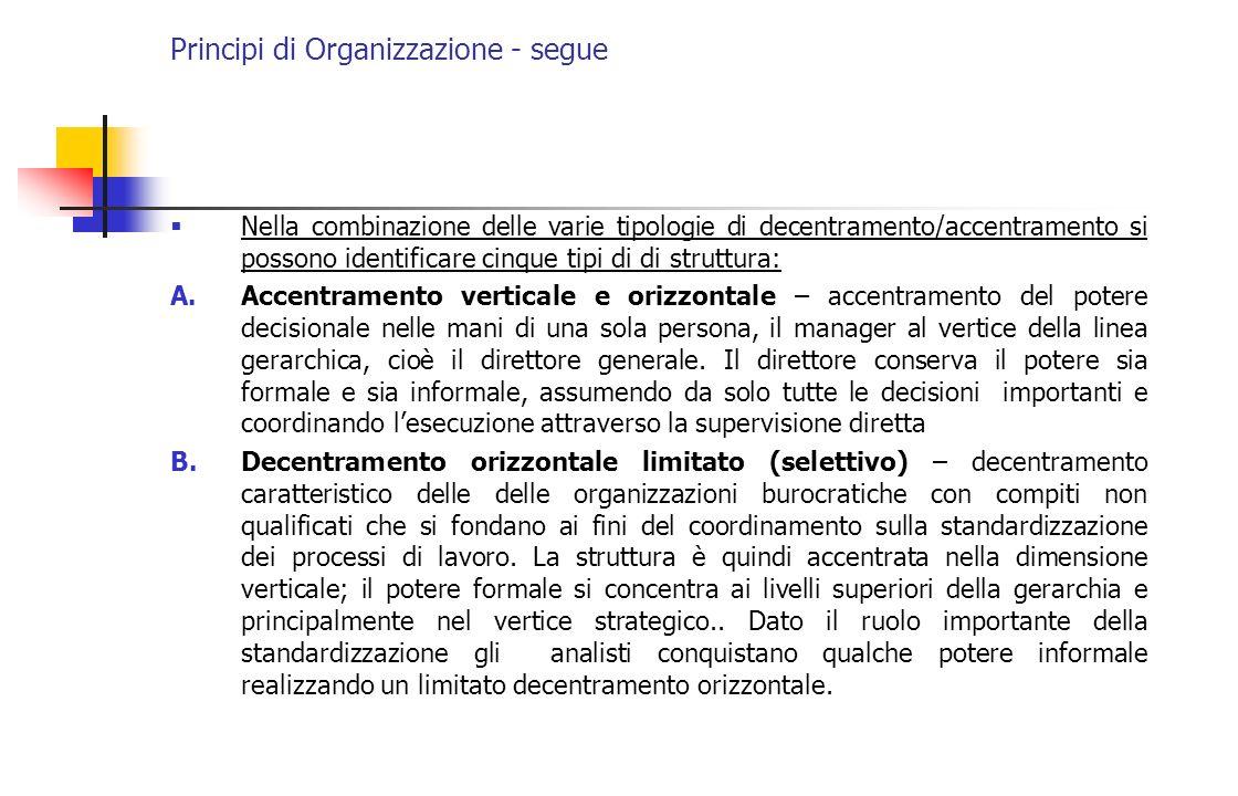 Principi di Organizzazione - segue Nella combinazione delle varie tipologie di decentramento/accentramento si possono identificare cinque tipi di di s