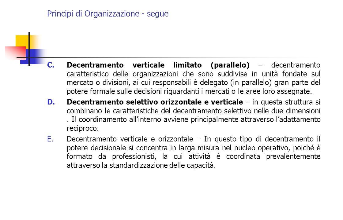 Principi di Organizzazione - segue C.Decentramento verticale limitato (parallelo) – decentramento caratteristico delle organizzazioni che sono suddivi