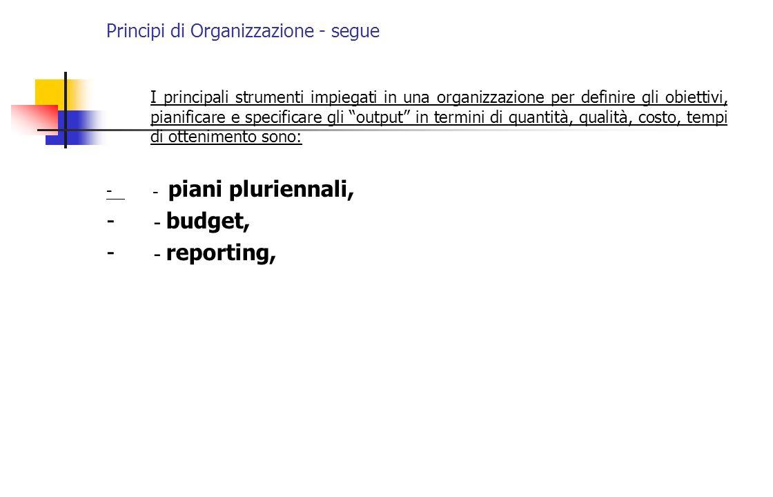 Principi di Organizzazione - segue I principali strumenti impiegati in una organizzazione per definire gli obiettivi, pianificare e specificare gli ou