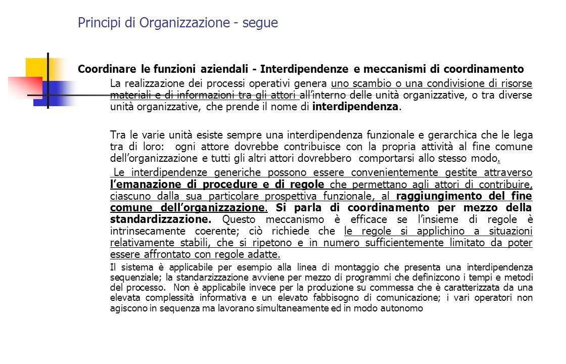 Principi di Organizzazione - segue Obiettivo della progettazione organizzativa è raggruppare le posizioni per minimizzare i costi di coordinamento e ciò si ottiene: 1) massimizzando le interdipendenze allinterno delle unità organizzative; 2) minimizzando quelle tra le unità organizzative.