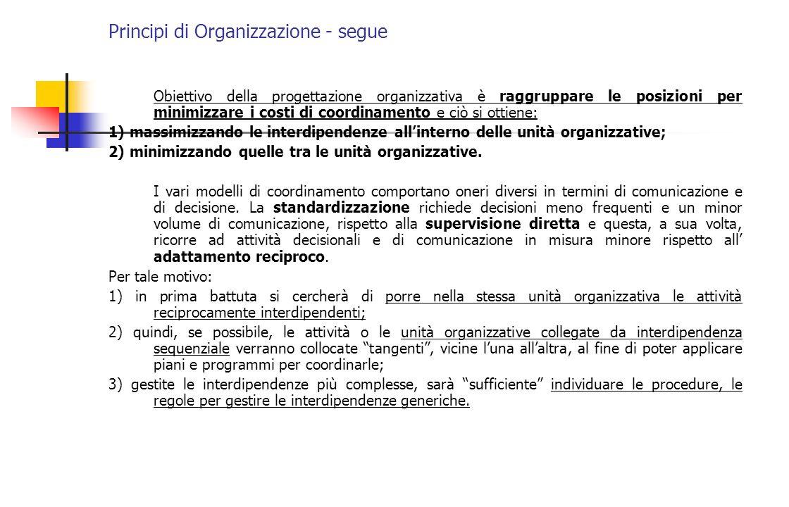 Principi di Organizzazione - segue Obiettivo della progettazione organizzativa è raggruppare le posizioni per minimizzare i costi di coordinamento e c