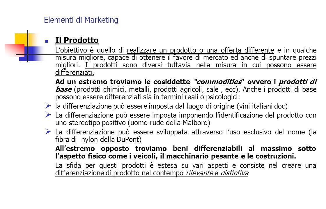 Elementi di Marketing Il Prodotto Lobiettivo è quello di realizzare un prodotto o una offerta differente e in qualche misura migliore, capace di otten