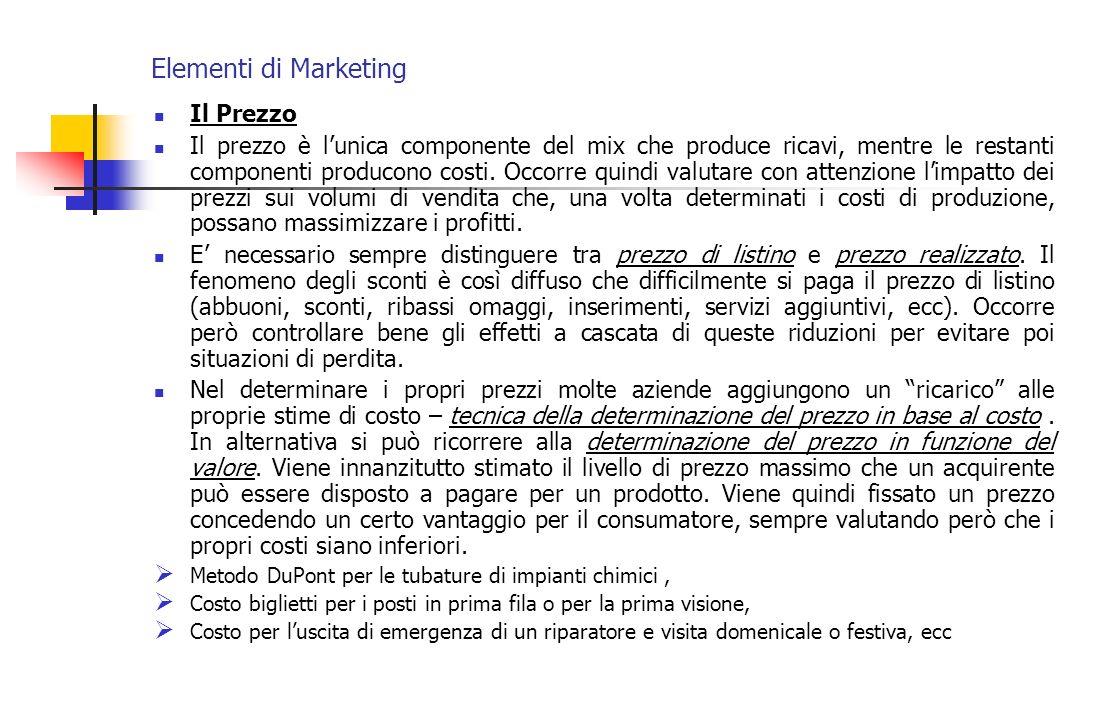 Elementi di Marketing Il Prezzo Il prezzo è lunica componente del mix che produce ricavi, mentre le restanti componenti producono costi. Occorre quind