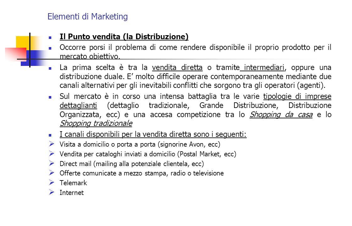 Elementi di Marketing Il Punto vendita (la Distribuzione) Occorre porsi il problema di come rendere disponibile il proprio prodotto per il mercato obi