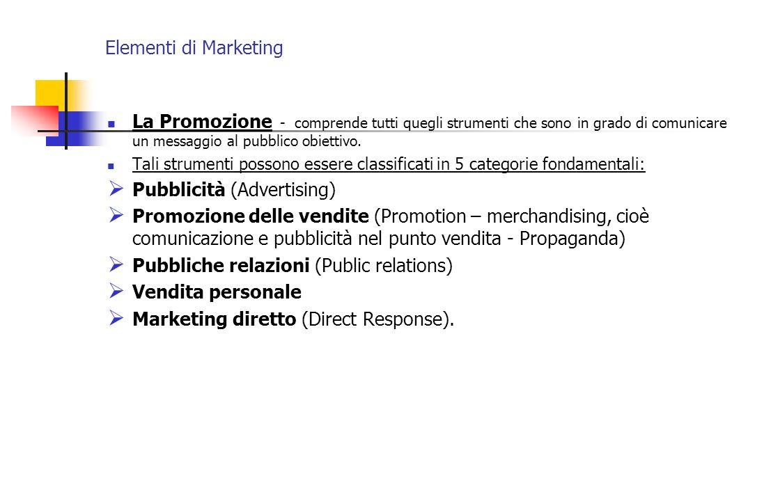 Elementi di Marketing La Promozione - comprende tutti quegli strumenti che sono in grado di comunicare un messaggio al pubblico obiettivo. Tali strume