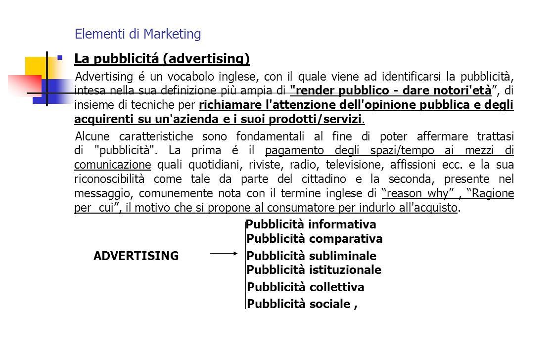 Elementi di Marketing La pubblicitá (advertising) Advertising é un vocabolo inglese, con il quale viene ad identificarsi la pubblicità, intesa nella s