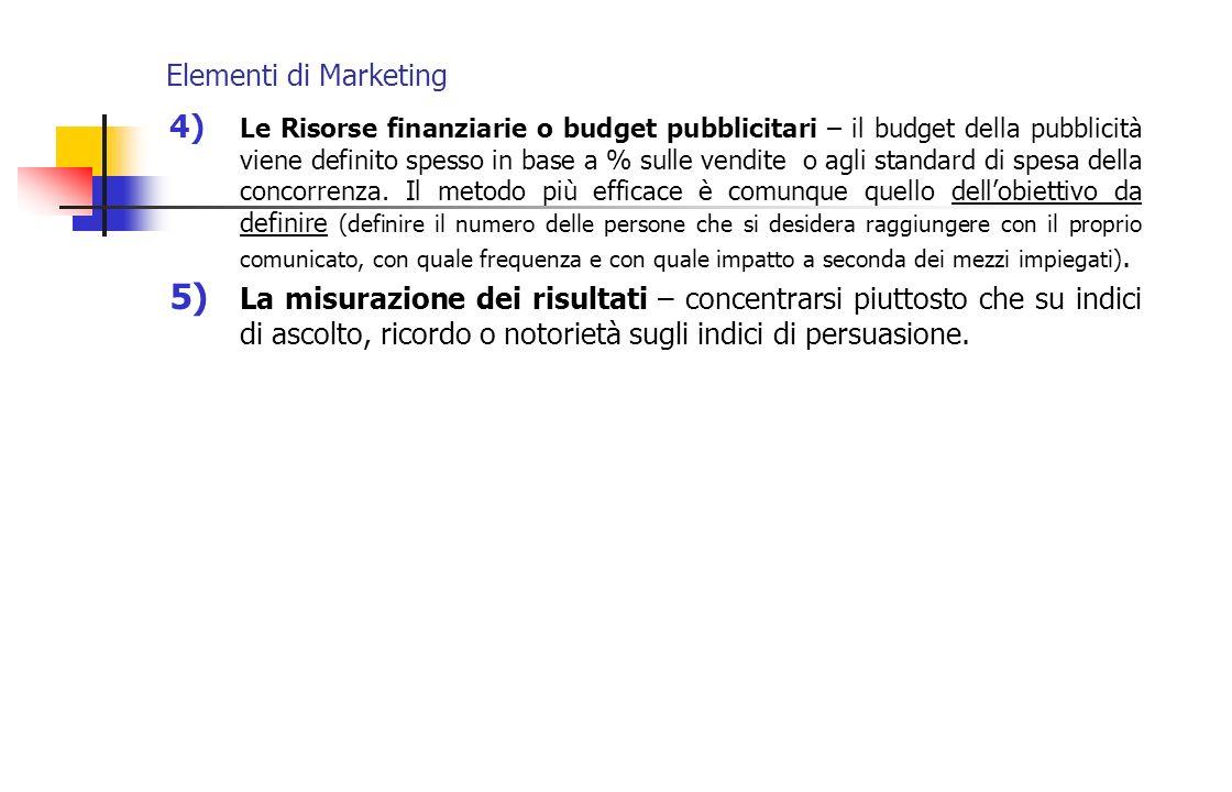 Elementi di Marketing 4) Le Risorse finanziarie o budget pubblicitari – il budget della pubblicità viene definito spesso in base a % sulle vendite o a