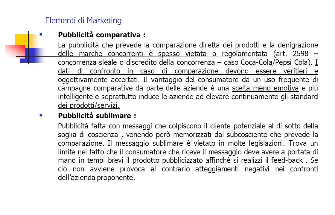 Elementi di Marketing Pubblicità comparativa : La pubblicità che prevede la comparazione diretta dei prodotti e la denigrazione delle marche concorren