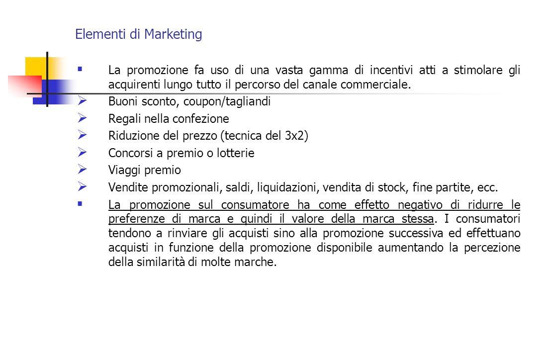 Elementi di Marketing La promozione fa uso di una vasta gamma di incentivi atti a stimolare gli acquirenti lungo tutto il percorso del canale commerci
