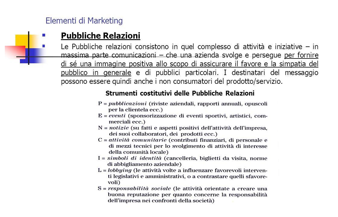 Elementi di Marketing Pubbliche Relazioni Le Pubbliche relazioni consistono in quel complesso di attività e iniziative – in massima parte comunicazion
