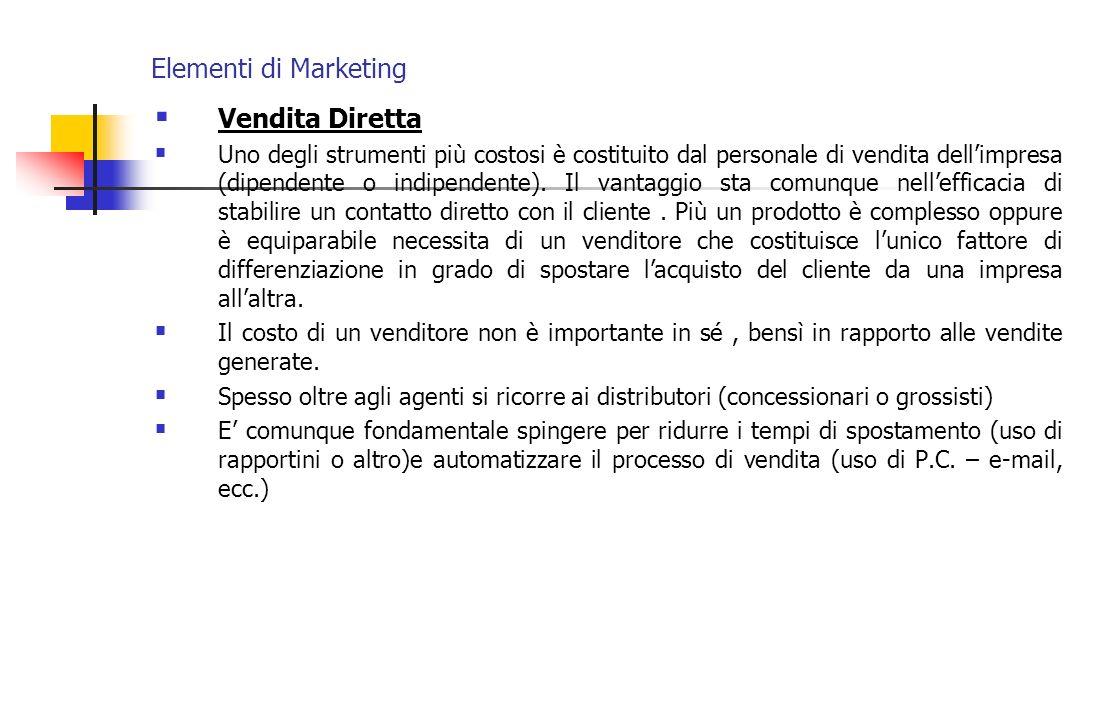 Elementi di Marketing Vendita Diretta Uno degli strumenti più costosi è costituito dal personale di vendita dellimpresa (dipendente o indipendente). I