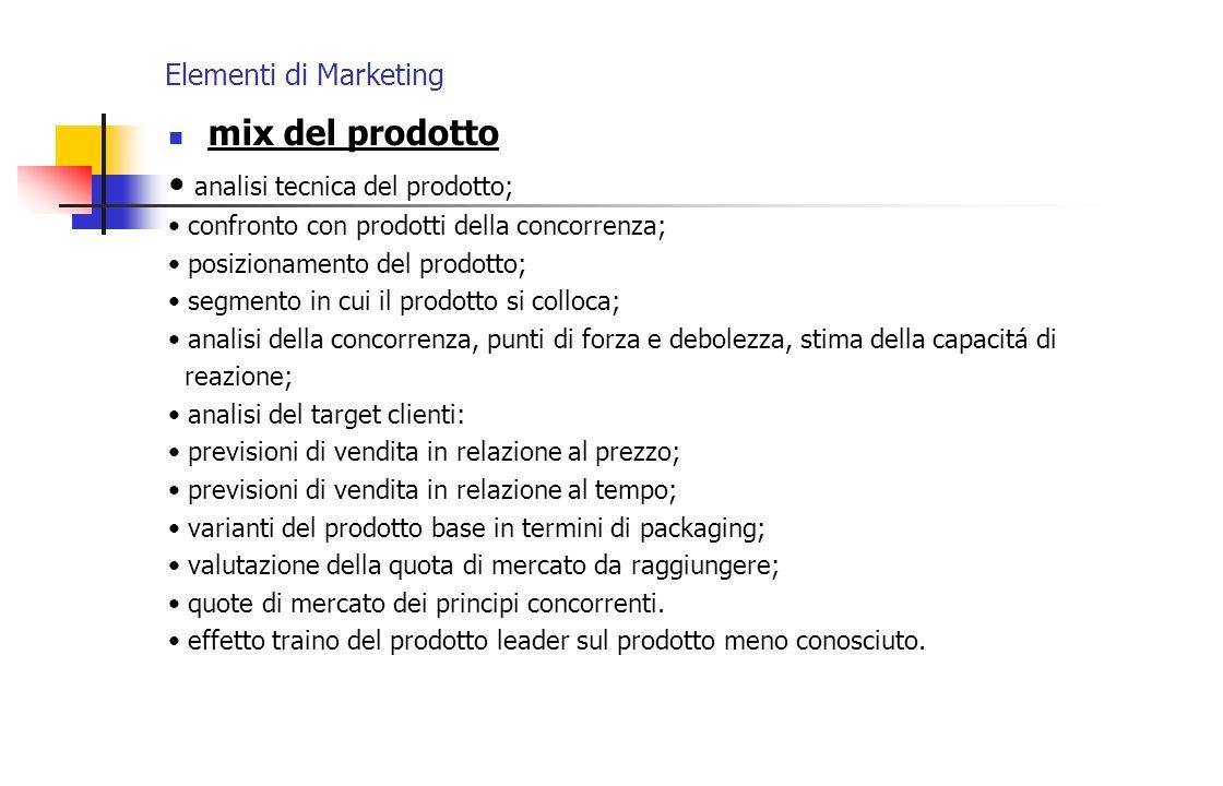Elementi di Marketing mix del prodotto analisi tecnica del prodotto; confronto con prodotti della concorrenza; posizionamento del prodotto; segmento i