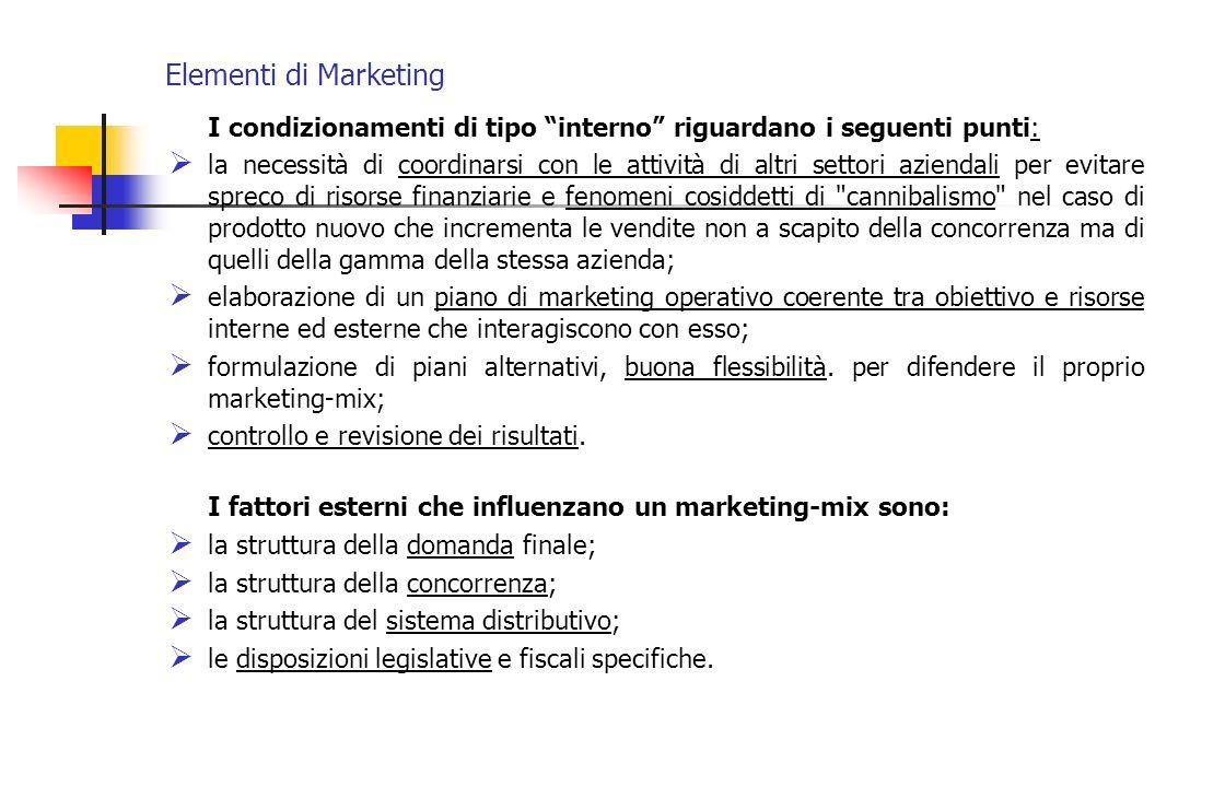 Elementi di Marketing I condizionamenti di tipo interno riguardano i seguenti punti: la necessità di coordinarsi con le attività di altri settori azie