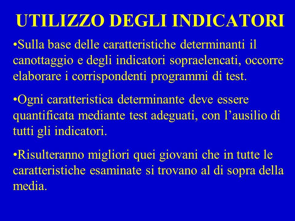 UTILIZZO DEGLI INDICATORI Sulla base delle caratteristiche determinanti il canottaggio e degli indicatori sopraelencati, occorre elaborare i corrispondenti programmi di test.