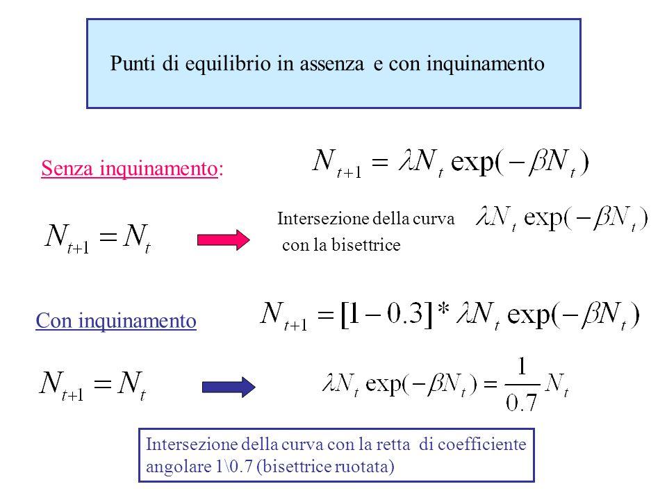 Punti di equilibrio in assenza e con inquinamento Senza inquinamento: Intersezione della curva con la bisettrice Con inquinamento Intersezione della c