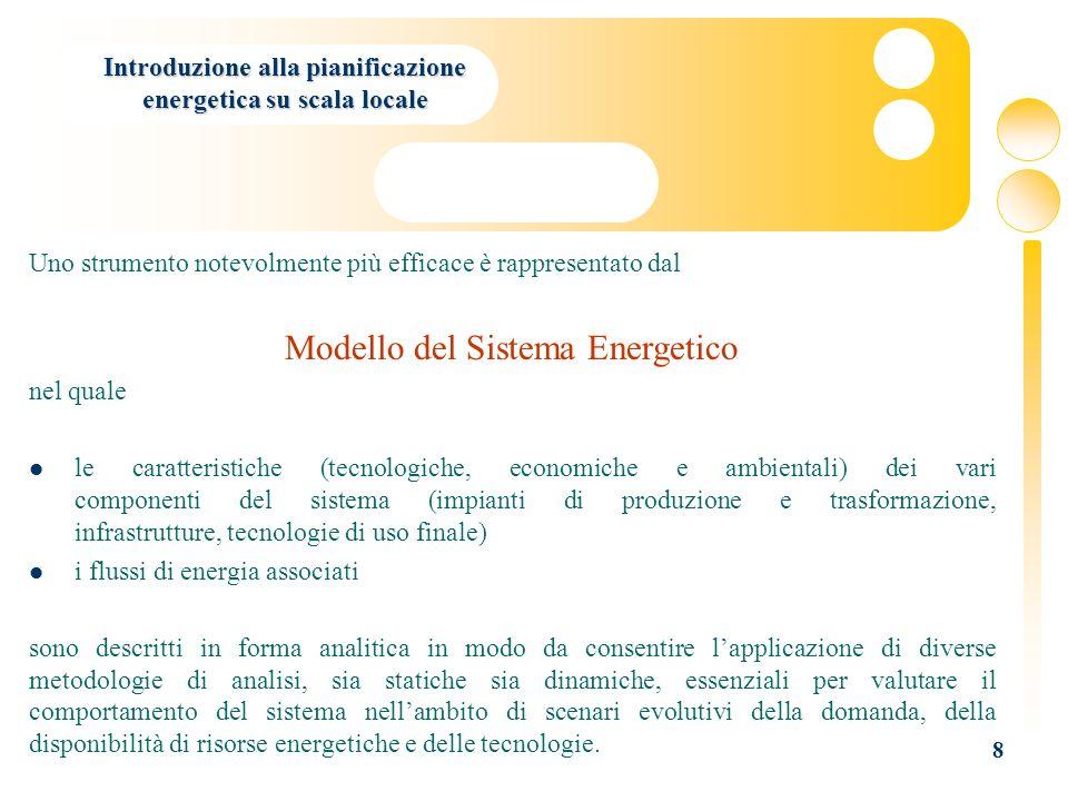 8 Introduzione alla pianificazione energetica su scala locale Uno strumento notevolmente più efficace è rappresentato dal Modello del Sistema Energeti