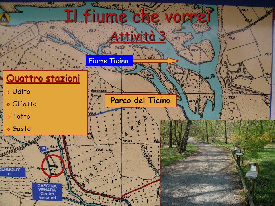 Fiume Ticino Parco del Ticino Il fiume che vorrei Attività 3 Quattro stazioni Udito Olfatto Tatto Gusto