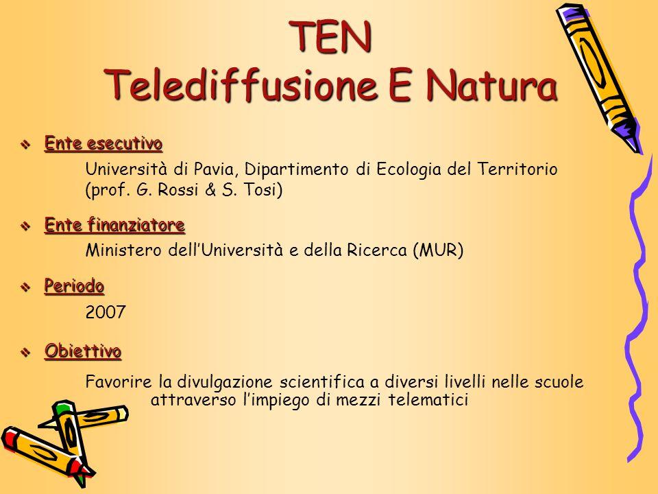 TEN Telediffusione E Natura Ente esecutivo Ente esecutivo Università di Pavia, Dipartimento di Ecologia del Territorio (prof. G. Rossi & S. Tosi) Ente