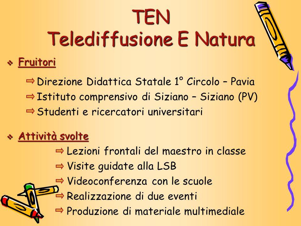 TEN Telediffusione E Natura Fruitori Fruitori Direzione Didattica Statale 1° Circolo – Pavia Istituto comprensivo di Siziano – Siziano (PV) Studenti e