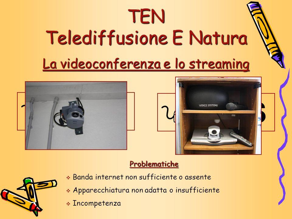 La videoconferenza e lo streaming TEN Telediffusione E Natura Problematiche Banda internet non sufficiente o assente Apparecchiatura non adatta o insu