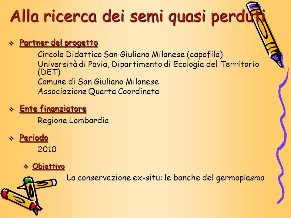 Partner del progetto Partner del progetto Circolo Didattico San Giuliano Milanese (capofila) Università di Pavia, Dipartimento di Ecologia del Territo