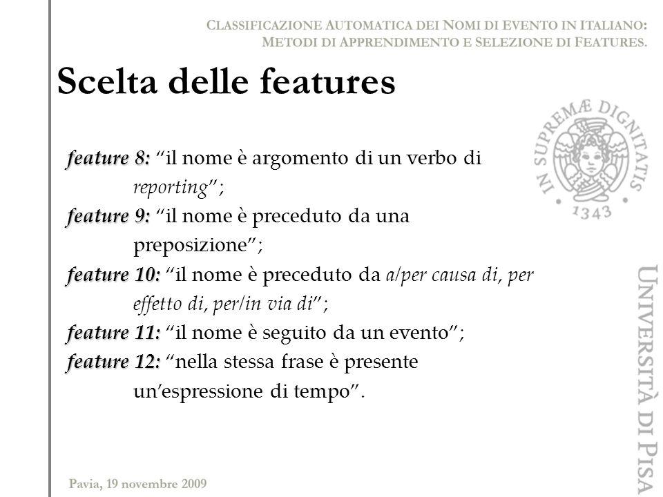 Scelta delle features feature 8: feature 8: il nome è argomento di un verbo di reporting; feature 9: feature 9: il nome è preceduto da una preposizion