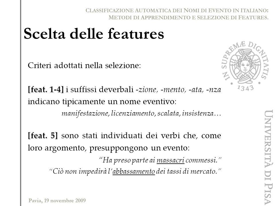 Scelta delle features Criteri adottati nella selezione: [feat. 1-4] [feat. 1-4] i suffissi deverbali -zione, -mento, -ata, -nza indicano tipicamente u