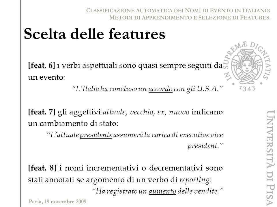 Scelta delle features [feat. 6] [feat. 6] i verbi aspettuali sono quasi sempre seguiti da un evento: LItalia ha concluso un accordo con gli U.S.A. [fe