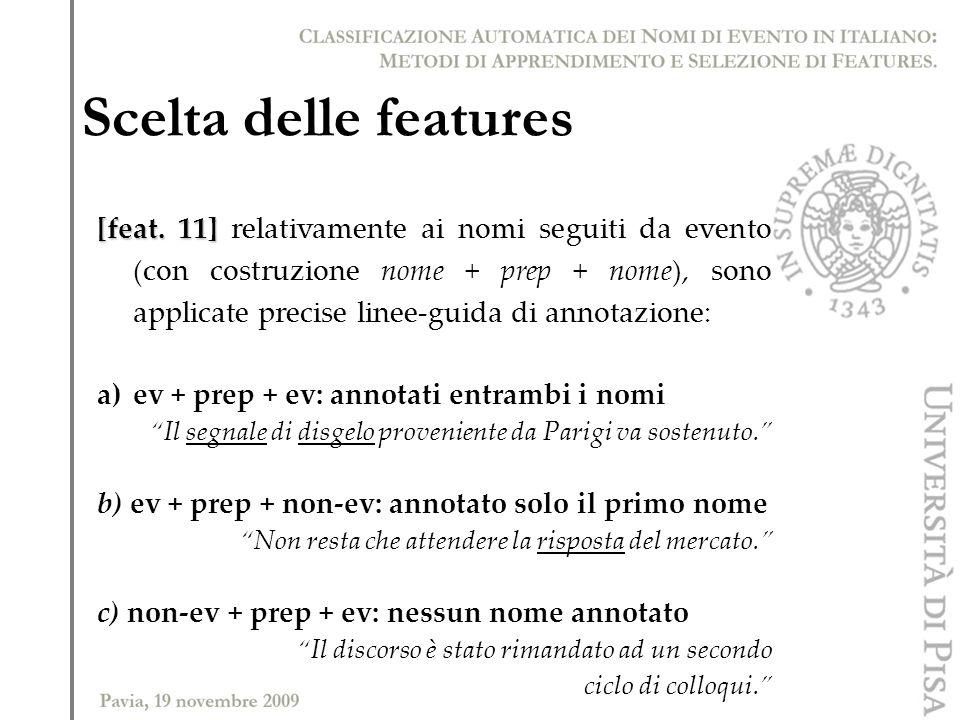 Scelta delle features [feat. 11] [feat. 11] relativamente ai nomi seguiti da evento (con costruzione nome + prep + nome), sono applicate precise linee