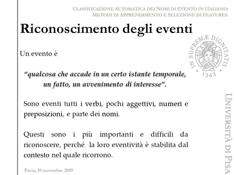 Riconoscimento degli eventi verbiaggettivi, numeri preposizioninomi Sono eventi tutti i verbi, pochi aggettivi, numeri e preposizioni, e parte dei nom