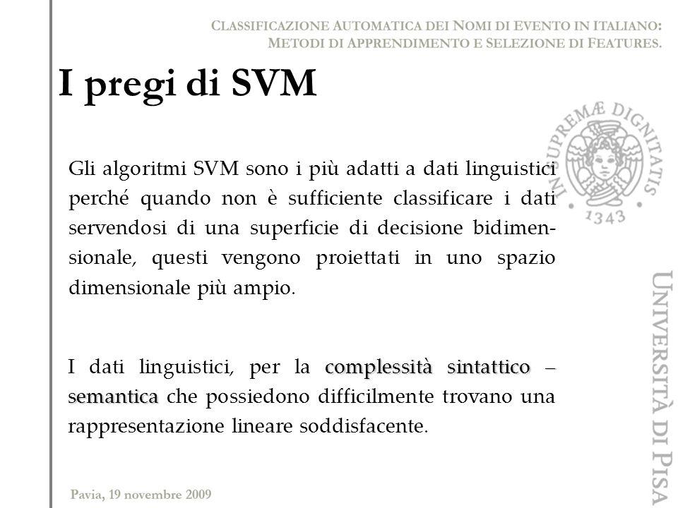 I pregi di SVM Gli algoritmi SVM sono i più adatti a dati linguistici perché quando non è sufficiente classificare i dati servendosi di una superficie